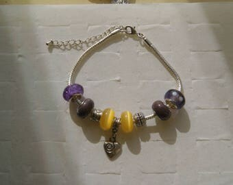 Heart and yellow brown pandora style bracelet
