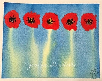 Poppies No. 020 - Original Watercolor Painting, Floral, Art, Wall Decor