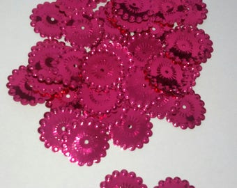 20 appliques embellishment sequin glitter flowers pink 20 mm