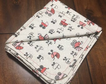 red carriage flannel baby blanket