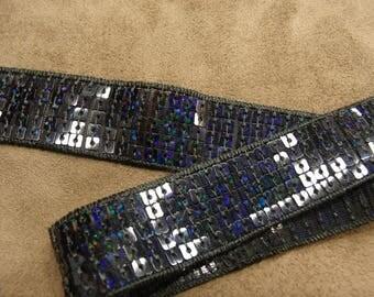Navy stripe glitter 2.5 cm soft-