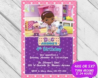Doc McStuffins Invitation, Doc McStuffins Party, Doc McStuffins Birthday, Doc McStuffins Birthday Invitation, Doc McStuffin Printable invite
