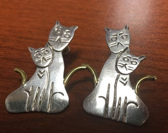 Sterling Mexico Kitty Earrings