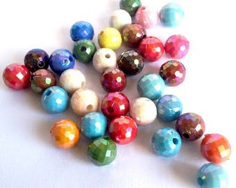 Wholesale lot of 90 beads round faceted, multicolored acrylic 07mm