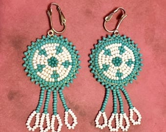 Vintage Native American Style Turquoise and White Beaded Earrings