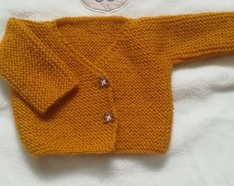 Life jacket baby/reborn mustard Cardigan size 0/3 months