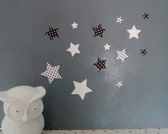 Set of black and white stars wall decor
