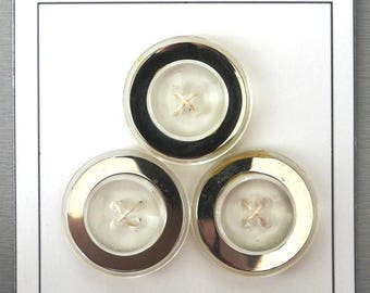 Set of 3 VINTAGE buttons transparent and silver plastic buttons