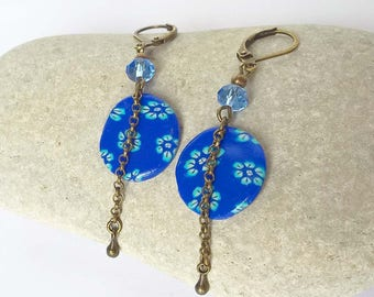 Blue polymer clay floral earrings