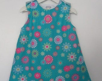 "dress ""flowers"" for baby 2-3 years in cotton"