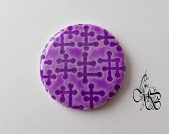 """Round cabochon 40 mm flat """"sequined ceramic"""" #5 polymer clay"""
