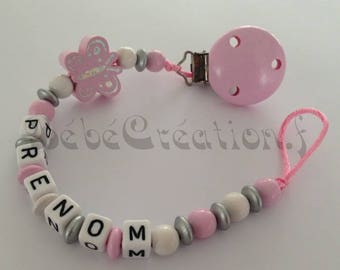 Pink butterfly personalized pacifier