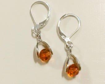 Dangling earrings - stud earring - Swarovski Crystal beads - silver jewelry woman - women earrings