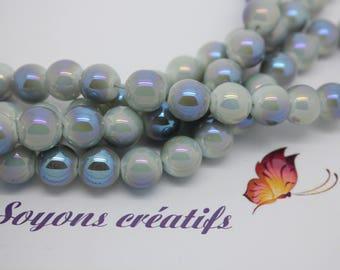 Set of 20 glass beads round 10mm light blue - creating jewelry - SC75399.