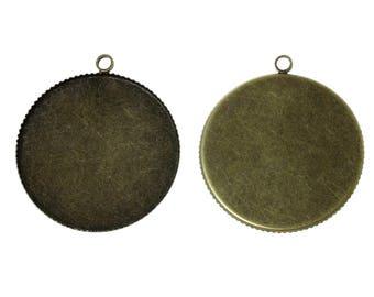 1 cabochon 30mm - SC60319 - Bronze charm pendant