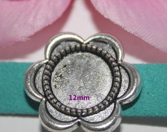 2 pearls flower silver ring 12mm - SC59234 - bandwidth
