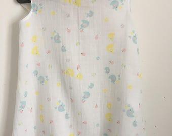 The cotton dress fabric printed Elephants