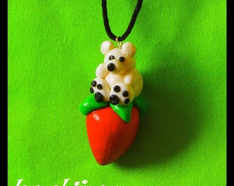 Fimo necklace bear white Strawberry gift anniversary