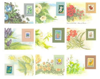 Reader's Digest set of postage stamps of the world's flower