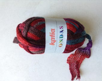 Wool ruffle nuanced rust purple turquoise