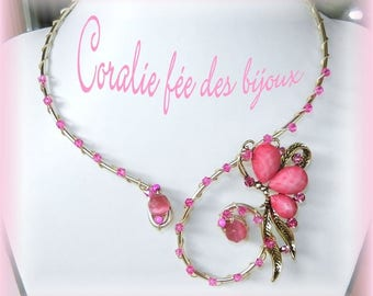 Necklace aluminum bead pink butterfly and Crystal beads