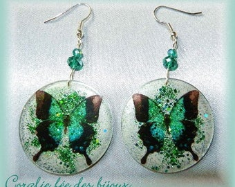 Butterfly resin Crystal/Sequin, Crystal beads earrings