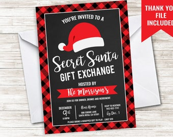 Secret Santa Invite Invitation 5x7 Digital Plaid Christmas Holiday White Elephant Hat Party Exchange