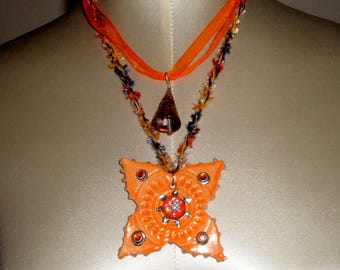 Cubic Sun pendant - ceramic and metal