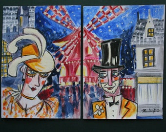MARTA KNEE * MOULIN ROUGE * ORIGINAL PAINTING