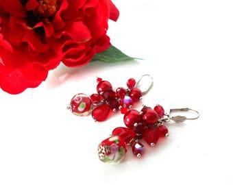 Red cluster earrings