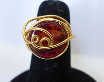 Amber glass bead gold aluminum wire ring
