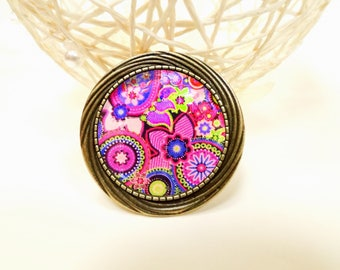 Large brooch bronze paisley Pink Cashmere