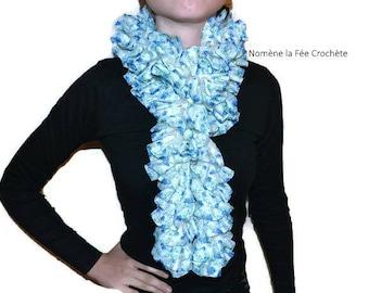 Hand-made fabric, knitted ruffle fashion scarf