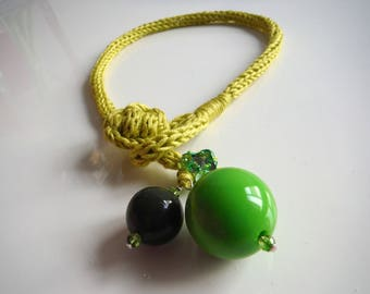cotton lime green Choker necklace