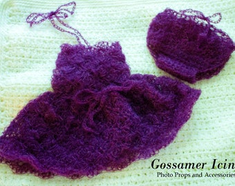 Newborn Hand-Crafted Mohair Dress and Bloomers