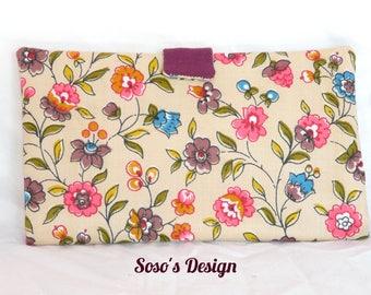 Portfolio Portecarte Portechequier, purse accessory 4 in 1 wallet, card holder Beige plum and pink flowers