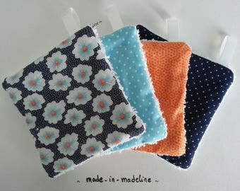 "Sewing Kit to make 8 wipes small Pan ""osami"" fabric and other assorted fabrics shades Blue Navy"