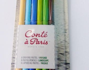 6 pastels landscape green yellow blue Paris tale