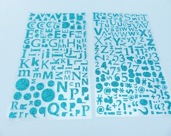 alphabet letter number computer symbol and punctuation 300 stickers green glitter