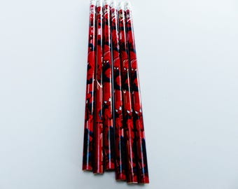6 wooden pencils with spider man spiderman with Eraser pencil of mine