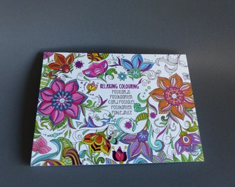 block of 20 postcards coloring book color flowers