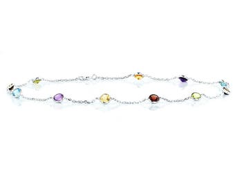 14k White Gold Handmade Station Anklet With Gemstones By the Yard (9, 9.5, 10, 10.5 and 11 Inches)