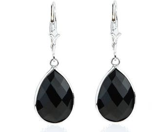 14K White Gold Handmade Earrings With Dangling Pear Shape Black Onyx