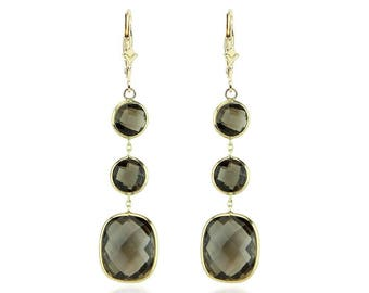 14K Yellow Gold Dangle Earrings With Smoky Quartz