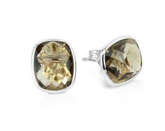 14k White Gold Stud Earrings With Cushion Cut Smoky Quartz - Gemstone Studs