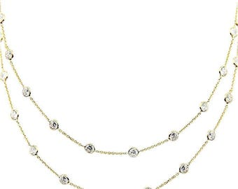 14K Yellow Gold Handmade Station Necklace With 4 MM Cubic Zirconia By The Yard 28 - 36 Inches