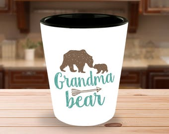 Grandma Bear Shot Glass  - 1.5 oz Ceramic Shotglass - Gift for Grandmother