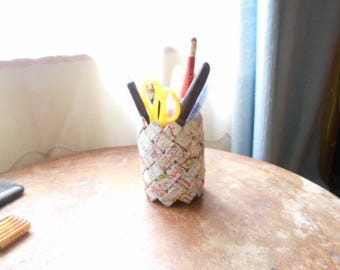 Pencil holder - maps - woven paper