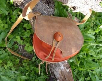 Orange and antique Brown purse bag