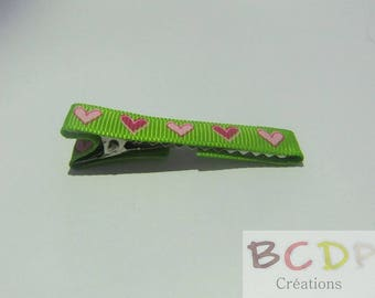 Green Barrette with hearts